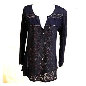 Lucky Brand lLing Sleeve Shirt w/ Lace